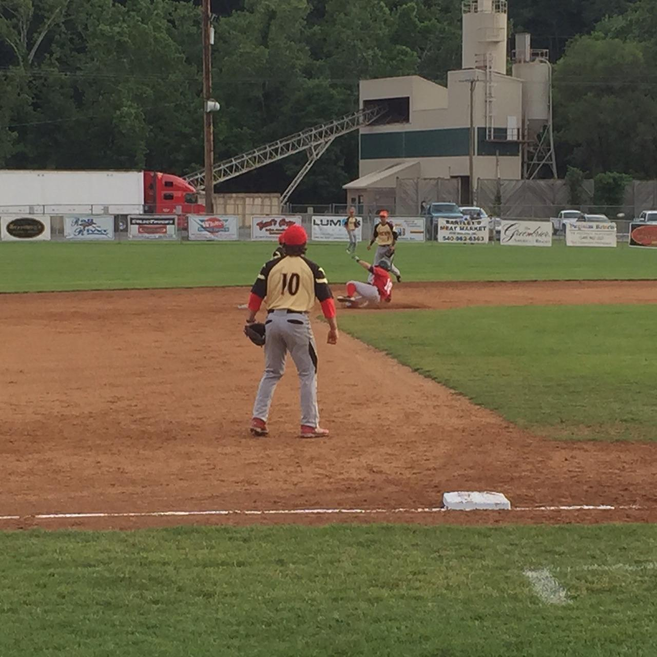 Kameron Esthay (Baylor) Stealing Second at Covington on June 5
