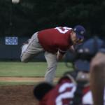 Justin Camp (Auburn) fires a pitch Sunday night in Waynesboro.
